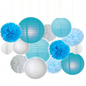 Fascola 14ps Blue & White Party Decor Background Wall Wedding Theme Tissue Paper Pom Pom Tassel Garland Polka Dot Tissue Poms Paper Garland for Wedding Baby Shower Decoration Bridal Shower Blue Birthday