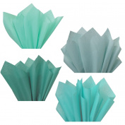 Teal Turquoise Aqua Tiffan Blue Assorted Mixed Colour Multi-Pack Tissue Paper for Flower Pom Poms Art Craft Wedding Bridal Baby Shower Party Gift Bag Basket Filler