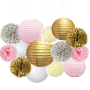 Fascola 14 Pcs Mixed Pink Gold White Party Decor Kit Paper lantern Tissue Pom Poms Hanging Flower Ball for Wedding,Birthday,Baby,Bridal Shower,Room decor & Themed Party Decoration Favour