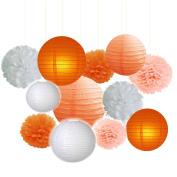 Fascola Pack of 12 White Peach Orange Paper Crafts Tissue Paper Honeycomb Balls Lanterns Paper Pom Poms Birthday Wedding Party Decoration