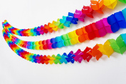 Rainbow Four-Leaf Clover Tissue Garlands - 5 Pack (Each Garland 3 Metres Long) Perfect for Colourful Theme Party Celebrations by Paper Full of Wishes