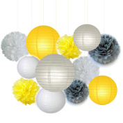 Fascola 12 pcs White Yellow Grey 25cm 20cm Tissue Paper Pom Pom Paper Lanterns Mixed Package for Lavender Themed Party Bridal Shower Decor Baby Shower Decoration