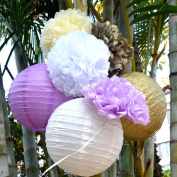 Fascola 7pcs Tissue Paper Pom Poms Balls Paper Lantern Wedding Decoration Baby Shower Birthday Party Decoration purple white beige gold