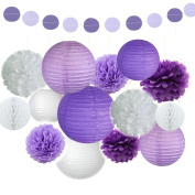 Fascola 16 Pcs Tissue Paper Pom Poms Flowers Paper Lanterns and Polka Dot Paper Garland for Wedding Party Decorations