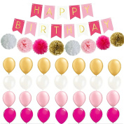 Fascola Set of 37 HAPPY BIRTHDAY BANNER- Perfect Party Supplies Kit, Hot Pink, Pastel Light Baby Pink, White Gold Foiled Bunting Flag Garland with Balloons and Tissue Paper Pom Poms Flowers