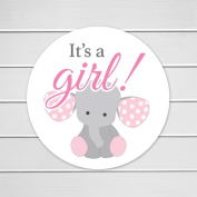150cm - 3.8cm Elephant It's a Girl Baby Shower Favour or Envelope Stickers