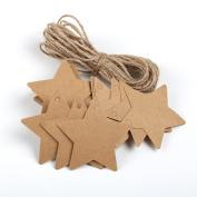 100PCS Qingsun Kraft Paper Gift Tags Brown DIY Handmade Bonbonniere Favour Star Shape Wedding Gift Hang Tags with Free 2m Natural Jute Twine