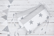 Kraft Kids Bumper Large Grey Stars On White and Plain Grey Cot Bumper 60 – 60 cm for Cot Bed 120 x 60 cm Length 60 Necklace – 60 cm for Bed 140 x 70 cm
