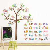 Decowall DA-1503 Animal Alphabet & Owl Numbers Tree Peel and Stick Nursery Kids Wall Stickers Decals