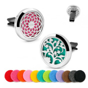 2PCS Car Aromatherapy Essential Oil Diffusers Stainless Steel Locket Air Freshener with Vent Clip 12 Felt Pads