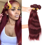 Top Hair Brazilian Virgin Straight Hair Weaves Weft 3pcs/lot Remy Human Hair Extensions Bundles Wine Red #99j Colour 100g/Bundles 20 22 60cm