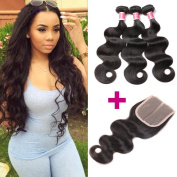 Beauty Princess Malaysian Body Weave Bundles With Closure 100% Unprocessed Brazilian Vigin Human Hair 3 Bundles with Middle Part Lace Closure Natural Colour.