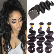 8A Colourful Bird Hair Body Wave Brazilian Hair 3 Bundles with Lace Closure Unprocessed Virgin Human Hair Weave Extensions Natural Colour 20 22 24 with 46cm Closure