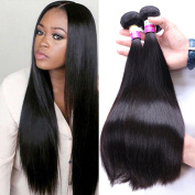 IUEENLY Brazilian Virgin Hair Straight 3 Bundles Unprocessed Brazilian Human Hair Weave Extension Silky Straight Natural Colour