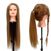 Neverland Beauty 70cm Mannequin Head 100% Synthetic Long Hair Hairdressing Practise Cosmetology Manikin Training Head Model with Free Clamp