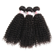 Brazilian Virgin Curly Wave Hair Weft 3 Bundles 100% Real Unprocessed Human Hair Weave Extensions Natural Colour 95-100g/pc 16 18 50cm