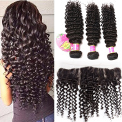 Beauty Queen Hair 7A Grade Unprocessed Brazilian Virgin Hair 13x4 Lace Frontal With 3 Bundles Deep Wave Lace Frontal Closure With Baby Hair