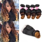 Mink Hair Ombre Bundles With Closure Brazilian Virgin Ombre Loose Wave Hair Bundles with 4x4 Free Part Lace Closure 1B/4/27 Colour 100g/bundle