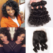 8A Brazilian Virgin Hair Loose Deep Wave Curly 3 Bundles With Closure Bouncy Curly Remy Human Hair Extensions Natural Colour -202222+41cm