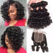 8A Brazilian Virgin Hair Loose Wave 3 Bundles Loose Deep Wave With Closure Cheap Human Hair With Closure Piece Water -242424+50cm