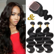 QTHAIR 8A Virgin Brazilian Human Hair 12 14 41cm with 25cm 4x 4 Lace Closure 100% Unprocessed Brazilian Body Wave Human Hair Weave Weft Natural Colour Tangle Free