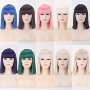 Royalvirgin Fashion 40CM Short Bob Wig with Bangs Synthetic Hair Purple Wigs Cosplay Perruque Heat Resistant
