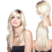 The new WIG Europe and the United States fashion lady Kasi AD wig long straight hair golden gradient smooth wig