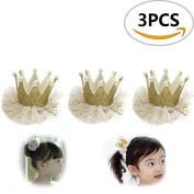 3PCS Sc0nni Cute Kids Girls Princess Hairpin Elastic Flower Crown Headwear.