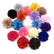 19 pcs Assorted Colours Carnation Lined Hair Bows Clips for Teens Girls Babies Toddlers