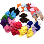 19 pcs Assorted Colours Grosgrain Ribbon Pinwheel Boutique Hair Bows Clips for Baby Girls Teens Toddlers Kids Children