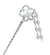 MANDI HOME Crystal Rhinetone Hair Clasp Flowers Hair Pin Stick With Beads Drop Tassel For Long Hair