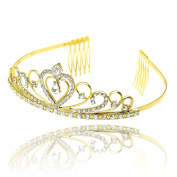 CamingHG Gold Wedding Bridal Tiara Crown King Diadem Heart Queen Hair Comb Bride Rhinestone Jewellery Hair Ornaments Headdresses Women
