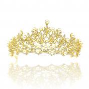 CamingHG Fashion Magnificent Diadem Clear Crystal Bridal Tiaras Flower Wedding Crown for Bride Wedding Pageant Hair Accessories
