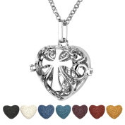 Top Plaza Aromatherapy Essential Oil Diffuser Necklace Antique Silver Heart Shape Locket Pendant With 7 Dyed Lava Rock