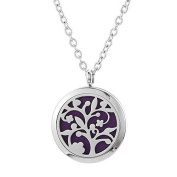 Clementine Essential Oil Jewellery Diffuser, Aromatherapy Necklace Stainless Steel Locket Chain, Branches