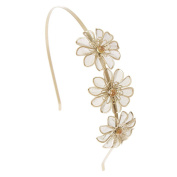 Claires Gold Mesh Flower Headband Girls Gold OneSize
