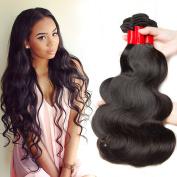 Vipbeauty 3 Bundles Of Brazilian Hair 7a Grade 100% Unprocessed Virgin Hair Body Wave Natural Black 95-100g/pc