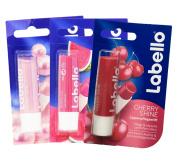 Labello Pearly Shine, Labello Watermelon Shine, Labello Cherry Shine Lip Balm Bundle