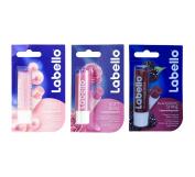 Labello Pearly Shine, Labello Soft Rose, Labello Blackberry Shine Lip Balm Bundle