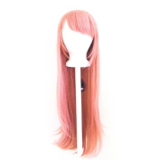 Tomoyo - Coral Pink Wig 80cm Long Straight Cut w/ Long Bangs