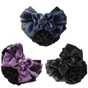 LiveZone (Pack of 3) Women Hair Bun Cover Net Snood Hairnet Bowknot Decor Barrette Hair Clip Bow Lace Flower Hair Accessories ,3 Colour-Black & Blue & Purple