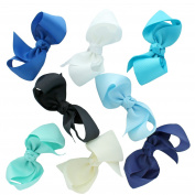 My Lello Medium 11cm Girls Half Twist Boutique Grosgrain Hair-Bow Mixed Variety 8 Pack Blue Shades