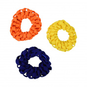 Set of 3 Braided Hair Scrunchies Pony Holders for Women and Girls - Neon Orange Yellow Navy
