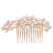 Fairy Moda Crystal Bridal Hair Piece Rose Gold Wedding Jewellery Bride Combs