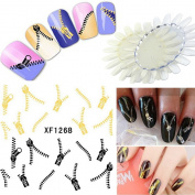 U Choicetore 2 Sheets 3D Nail Art Tips Stickers Zip Style Manicure Wraps Water Transfers Decal + BONUS 2 x NAIL ART DISPLAY
