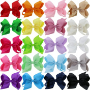 QingHan Large Grosgrain Ribbon Hair Bows With Alligator Clips For Teen Girls Women 20 Colours