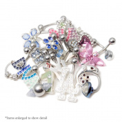 20 Randomly Picked Belly Rings - Hearts, Jewels, Butterflies, 316L Surgical Steel