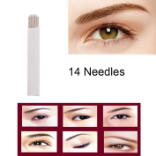 CINRA 100pcs Permanent Makeup Manual Eyebrow Tattoo Needle Embroidery Arc Blade