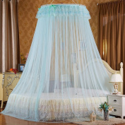 Mosquito Net Bed Canopy Curtain Round Lace Ruffle Hung Dome Netting Tent For All Size Bed ( Colour : Blue , Size : 1.8 m