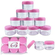 Beauticom 12 Piece 30G30ml Clear Round Acrylic Container Jars with Screw Top Lids for Beads, Rhinestones, Crystals, Glitter, Jewellery Findings and Small Items